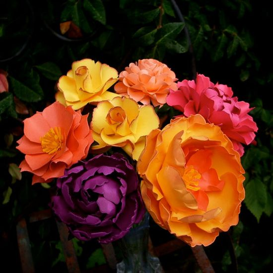 Colors - MIX Flowers  Handmade Paper Flowers - by DragonflyExpression purple, yellow, pink and orange