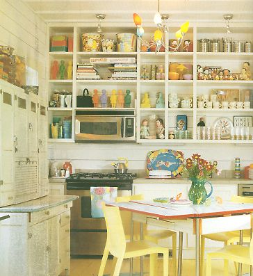 Open shelving in the kitchen.