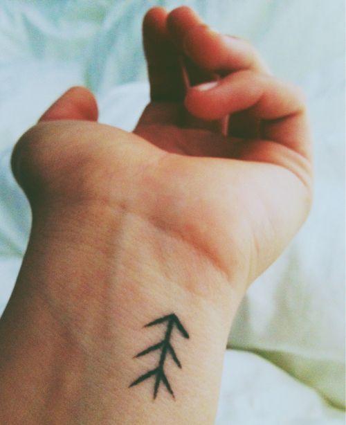 Arrow wrist tattoo.
