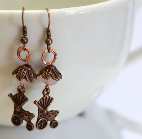 Baby Carriage Handmade Charm and Crystal Bead Earrings in Antique Copper