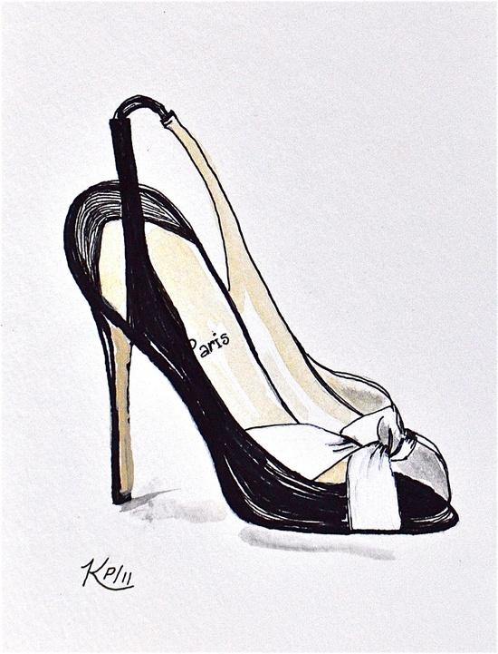 Original Fashion Illustration:  pen and ink designer shoe sketch.