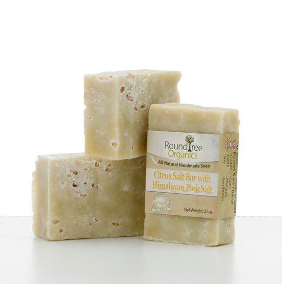 Organic Handmade Citrus Salt Bar Soap with Exfoliating Pink Himalayan Salt