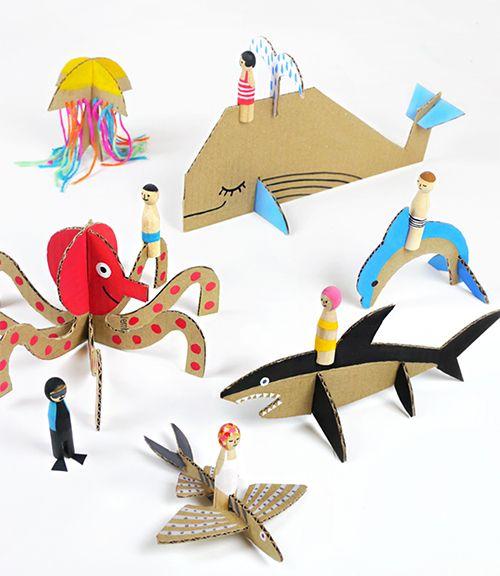 DIY Cardboard Sea Creature Printable Templates