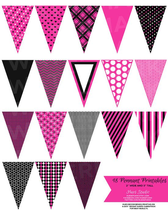 18 Hot Pink Black and White Pennant Banner Printables! $3.50 String them up as garland on your cakes or as decor for parties or your or your little one's room! $3.50 *Available in any color* #caketoppers #tags #wedding #invitation #birthday #bridal #babyshower #decorations #dessert #table #sports #kidsroom #diy #paper #decor #office #classroom #girly #girl