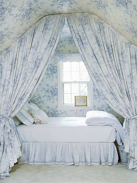 blue and white bed