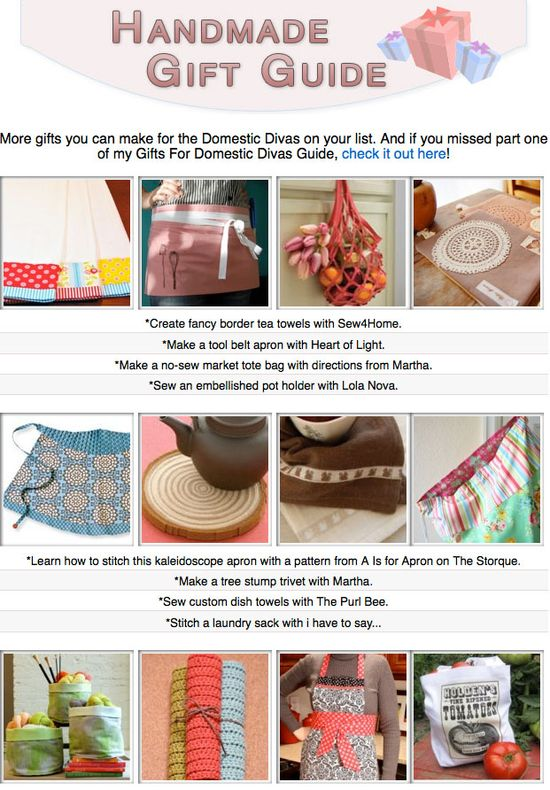 16 free diy gift tutorials for the domestic divas in your life!