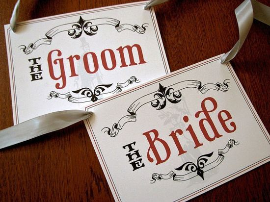 Victorian Bride and Groom Seat Signs Perfect for your by Earmark