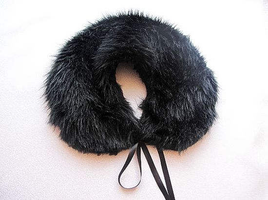Black  faux fur Collar Humdinger Polyester faux fur by aynurdereli, $27.00