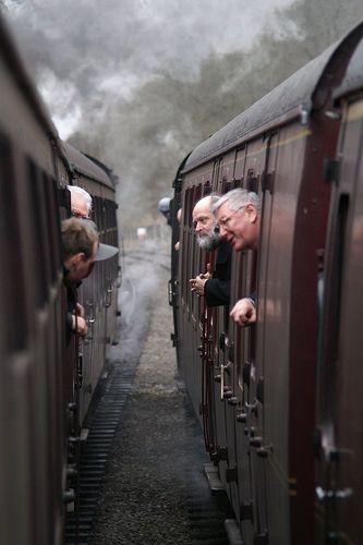 'Inter train communication', at Churnet Valley Railway steam gala, 2008. Photo copyright of Alan Crawshaw.