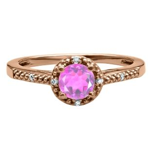 Round Cut Pink Sapphire Birthstone Diamond Rose Gold Ring Available Exclusively at Gemologica.com