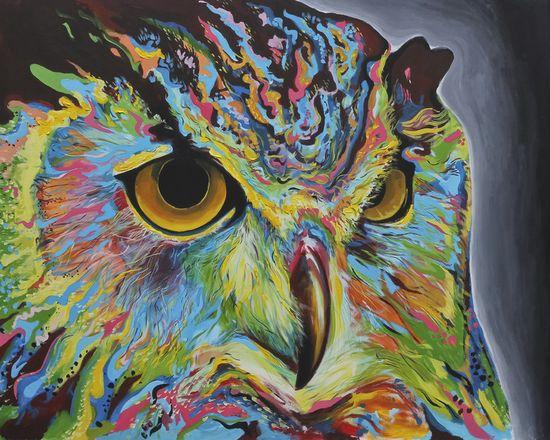 """Saatchi Online Artist: Harvin Alert; Acrylic, 2011, Painting """"Owl """""""
