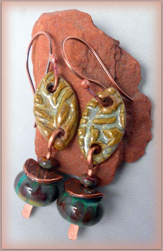 Beaded tribal style dangle earrings in copper by TwoTreesStudio, $34.00