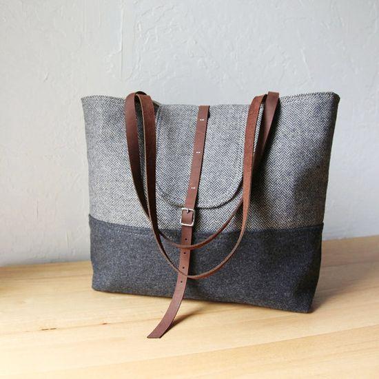 Wool and herringbone tote. 12x11x4