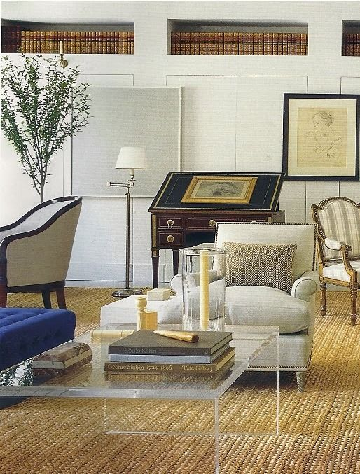 lucite table + traditional furnishings