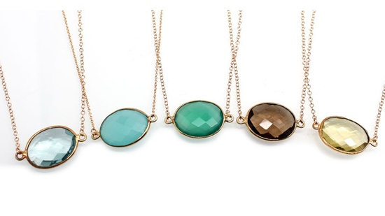 Vibrant Gold Framed Oval Gemstone Necklace