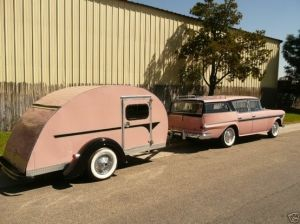 vintage pink travel trailer and station wagon I WANT!
