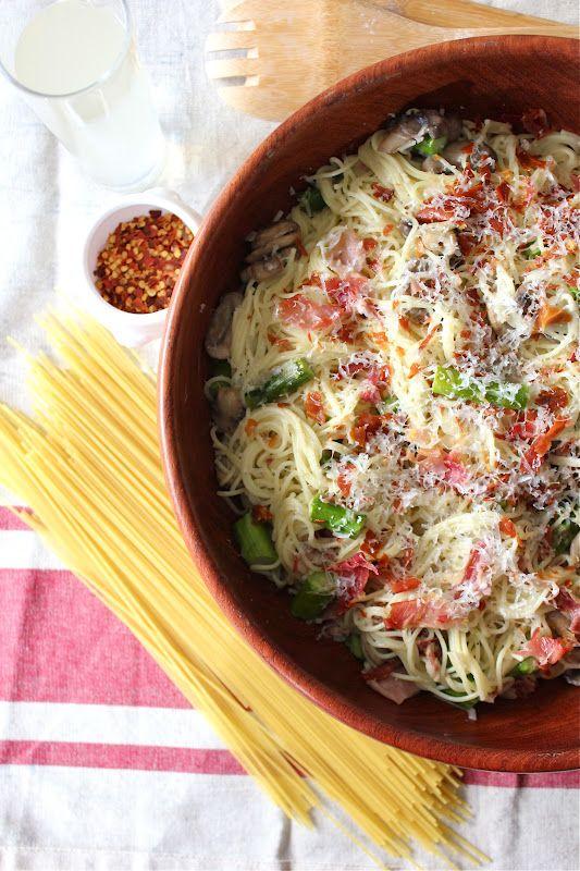 Prosciutto, Asparagus and Parmesan Spaghetti
