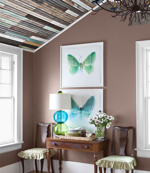 love the ceiling!!!! and the soft wall color with bright accents