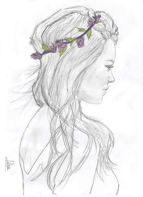 Girl with flower crown drawing - photo#2