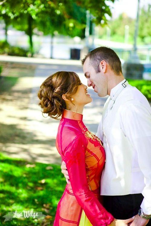 Sheer wedding #aodai