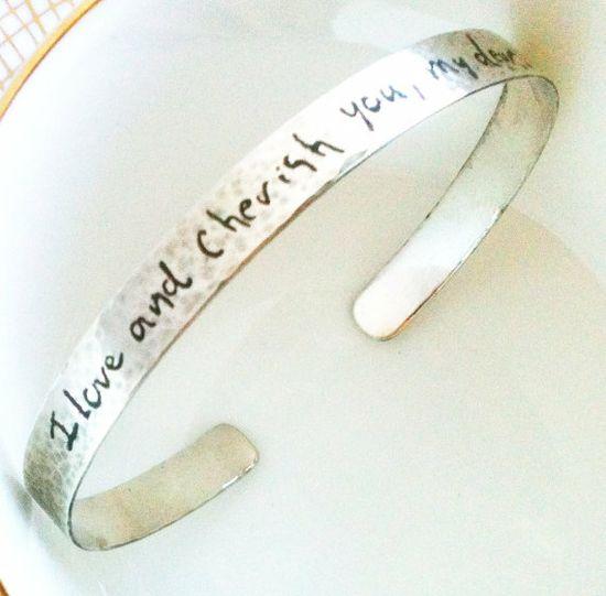 Handwriting Cuff Bracelet 1/4 inch wide Your by saturn5studio, $110.00