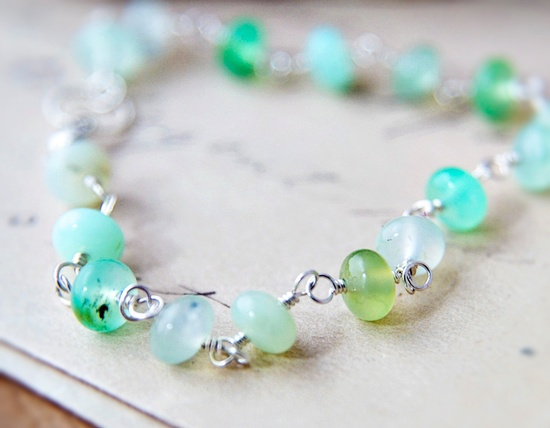 Wire Wrapped Ombre Mint Bracelet