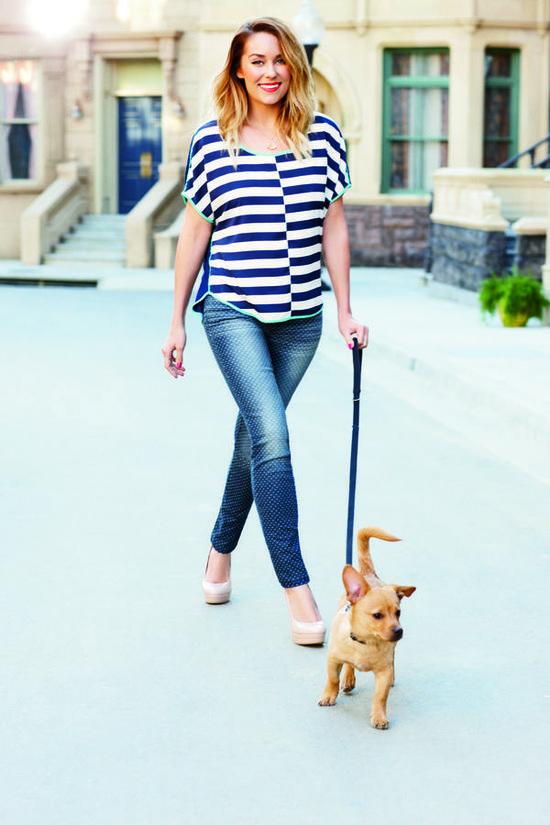 lc lauren conrad: stripe shirt + denim {and fitz, of course}