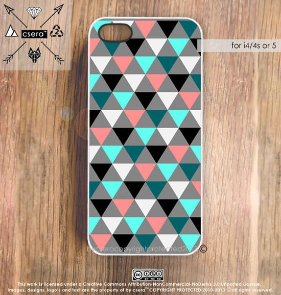 Pastel iPhone Case - Geometric iPhone 5 Case, iPhone 4 Case, Triangles iPhone Cover - Rubber Silicone or Hard Plastic iPhone Case