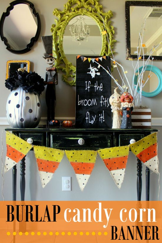 Burlap Candy Corn Banner on { lilluna.com }