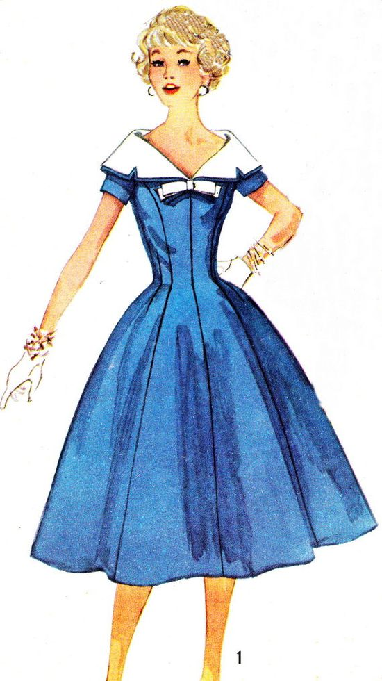 1950s Dress Pattern Simplicity 2496 Day or Evening