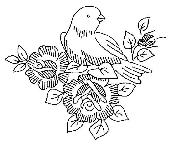 bird and roses - embroidery pattern
