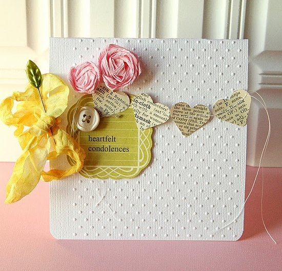 heart banner card w/ roses
