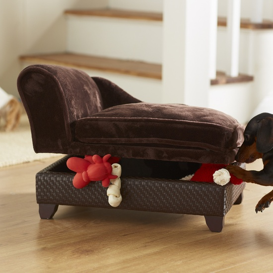 Doggie bed with storage for toys