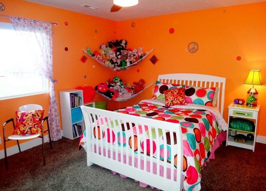 Widhalm Custom Homes Omaha Woodland Model prairie modern mid century modern contemporary Omaha Bennington Nebraska bedroom girl teenager pre-teen orange polka dots peace sign cool