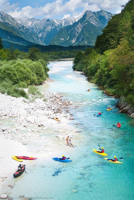River Adventures (Slovenia). 'Rarely does a river beckon to be rafted as  convincingly as Slovenia's So?a.  Maybe it's that piercing sky-blue-bordering-on-green colour of the water,  or the river's refreshing froth and foam as it  tumbles down the mountains. Even if you're  not the rafting type, you'll soon find yourself  strapping on a wetsuit for that exhilarating ride  of the summer.' www.lonelyplanet....