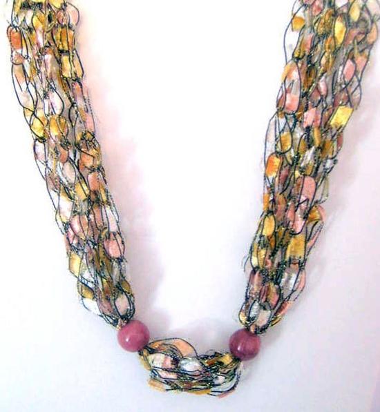 #Boho #Necklace #Crochet #jewelry #gift #handmade by Moomettes Crochet