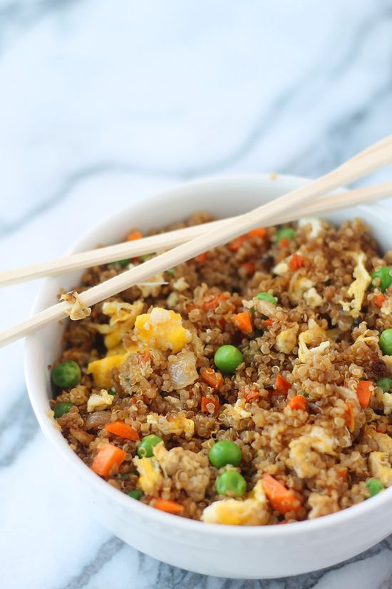 "OMG-- Quinoa fried rice. Quinoa is so incredible for you and a great source of protein. Making this version of ""fried rice"" a much healthier, more nutritious alternative."