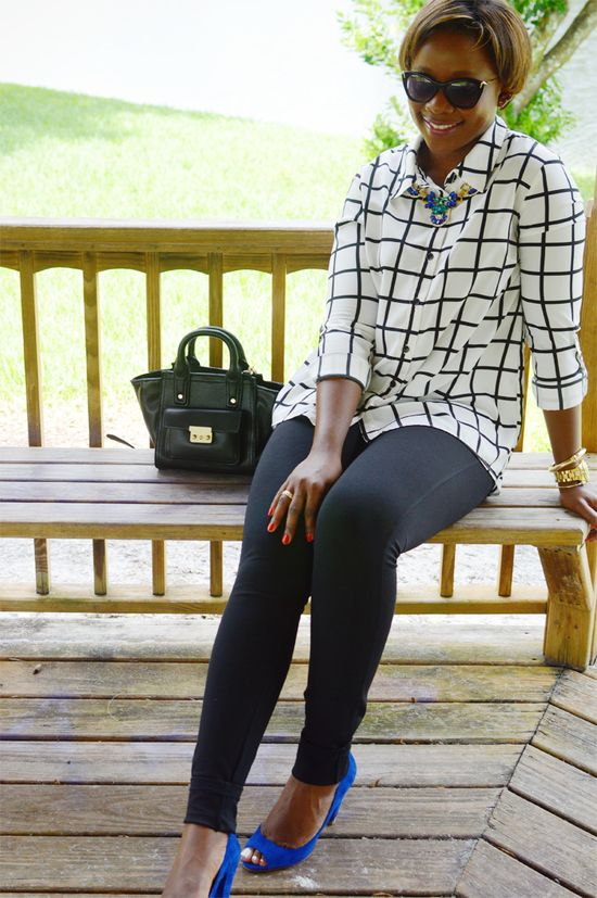 checkered blouse and skinny pants work outfit