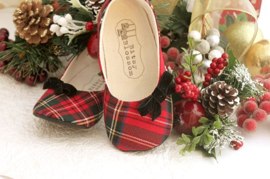 Baby Girl Shoes Toddler Girl Shoes Soft Soled Shoes Christmas Shoes Holiday Shoes Plaid Shoes Red Shoes Black Shoes- Merrilee