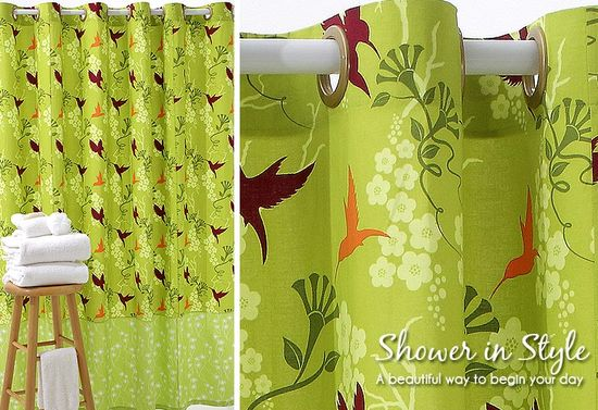 sew4home - shower curtain w/snap-on grommets - I really need to make this one!
