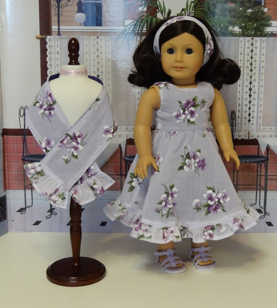 Shy Violets - dress for American Girl doll with shawl. $53.00, via Etsy.