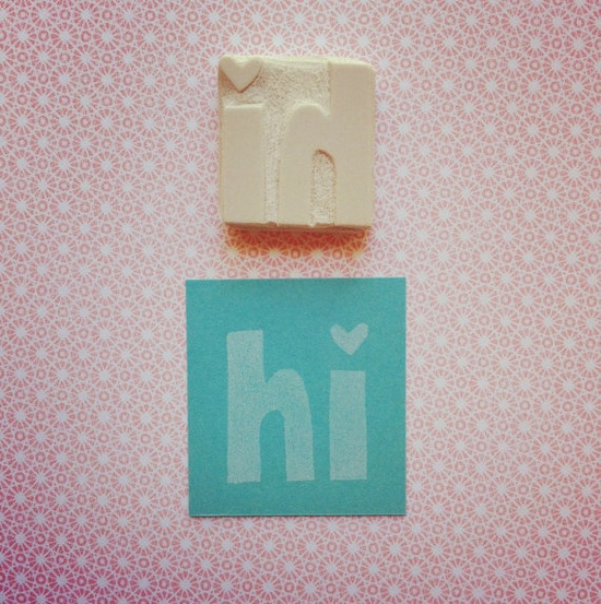 """Hand Carved Rubber Stamp - """"hi"""""""
