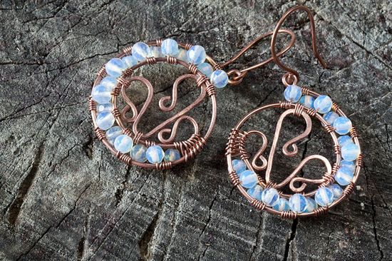 copper spiral plus shape, beads