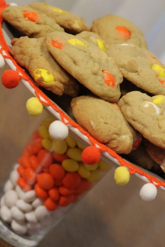 candy corn cookies and treat stand
