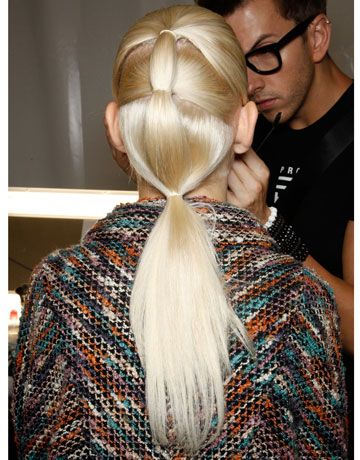Very cool pony-tail at the Herve Leger Spring 2012 show - @Barbara, do you remember we used to wear our hair like this (and do this to our girls hair) 20 years ago? And it is a thing now.