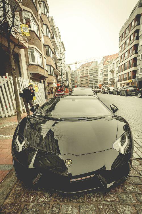 Cool Black Lamborghini Aventador via carhoots.com