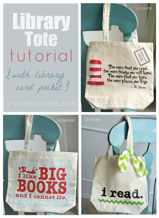 Library Tote Tutorial w library card pocket, too! u-createcrafts.com