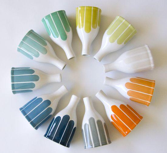 Modern Stripe Bottle Vase. $44.00, via Etsy.
