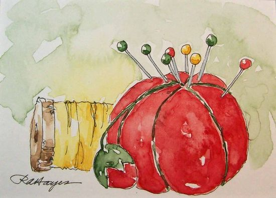 Red Pincushion, watercolor by RoseAnn Hayes