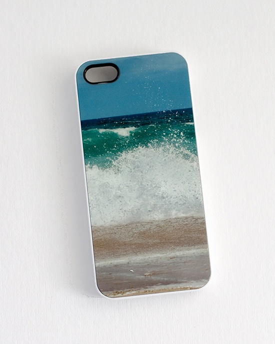 iPhone case for iPhone 5, IN STOCK crashing waves ocean surf green teal blue, iPhone accessory via Etsy